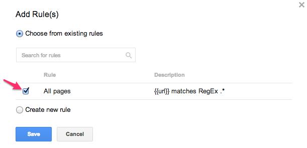 """Su Google Tag Manager per WordPress, attivate le regole e selezionate """"Tutte le pagine"""""""