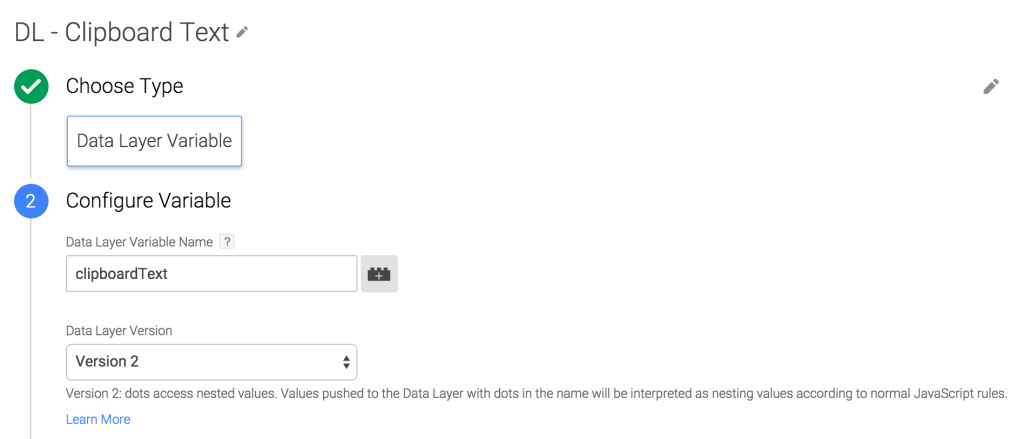 Create dataLayer variable in GTM