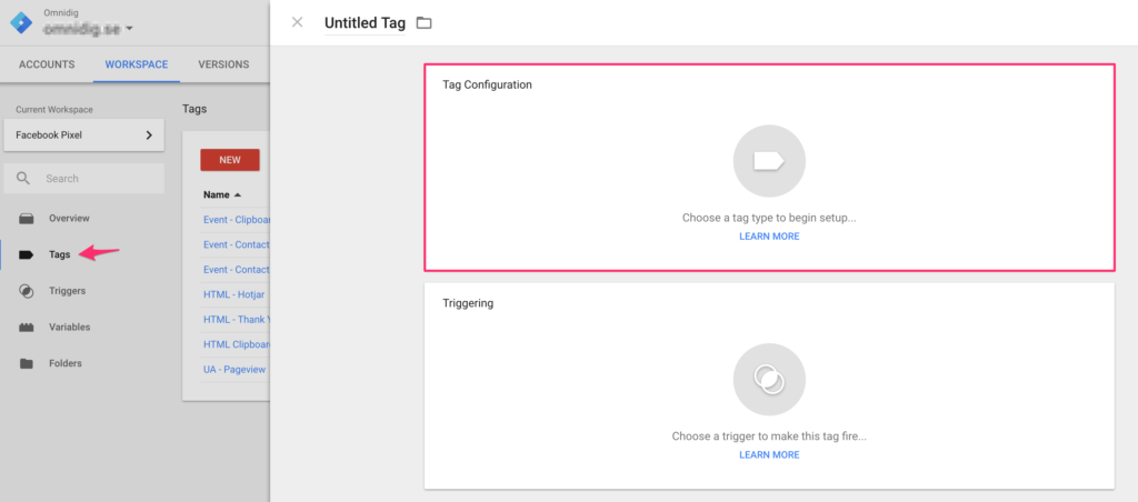 Google Tag Manager add Facebook Pixel