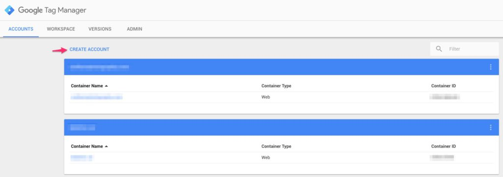Google Tag Manager - Create Account