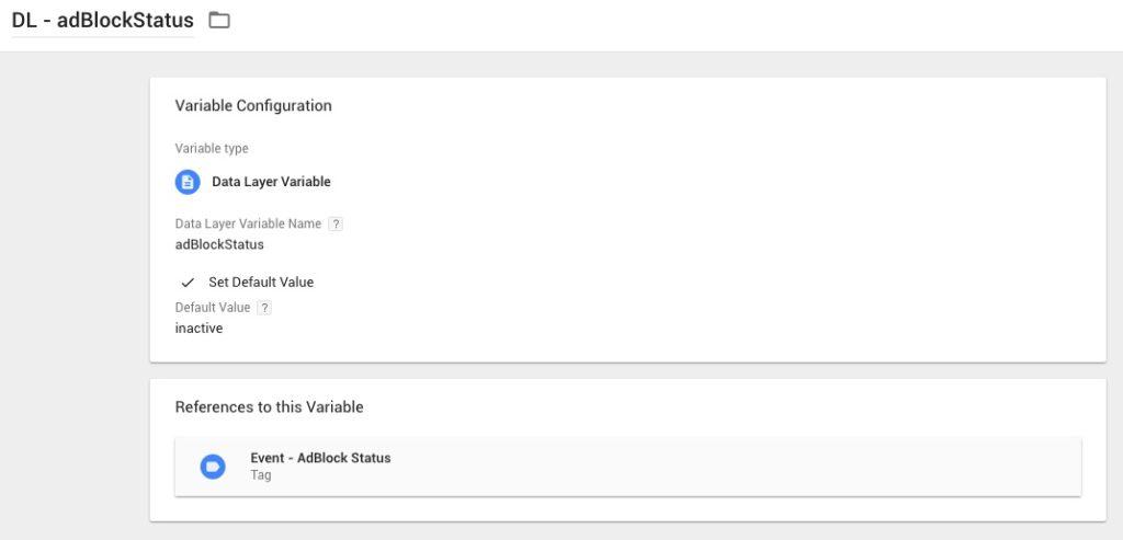Google Tag Manager - DLV adBlockStatus