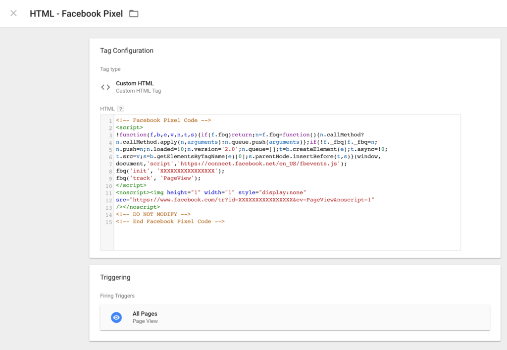 Google Tag Manager Custom HTML for Facebook Pixel
