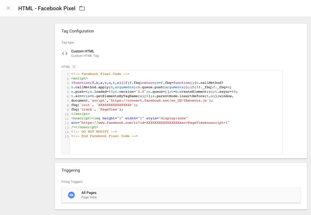 Google Tag Manager Custom HTML for Facebook Pixel