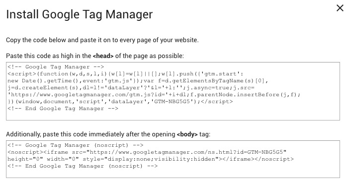Google Tag Manager Snippet Codes