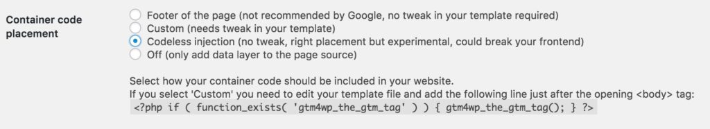 Google Tag Manager add WordPress code to page