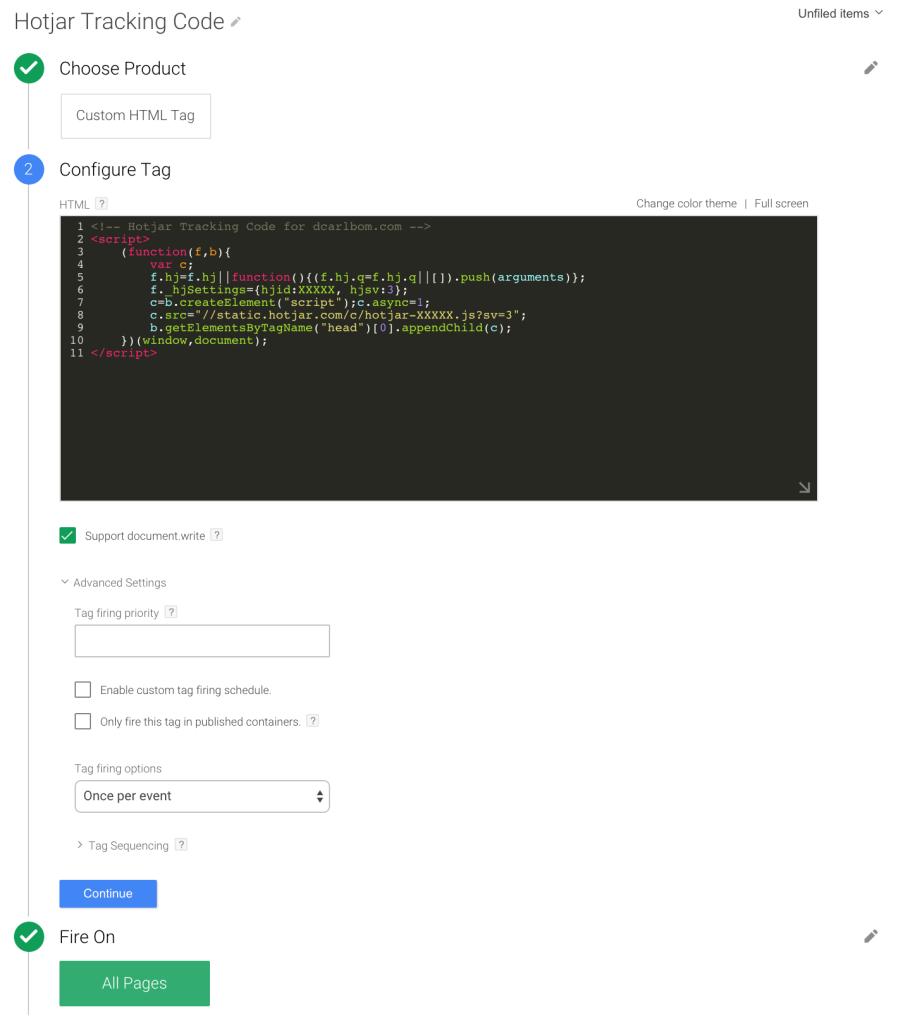 Hotjar Custom HTML Tag Google Tag Manager